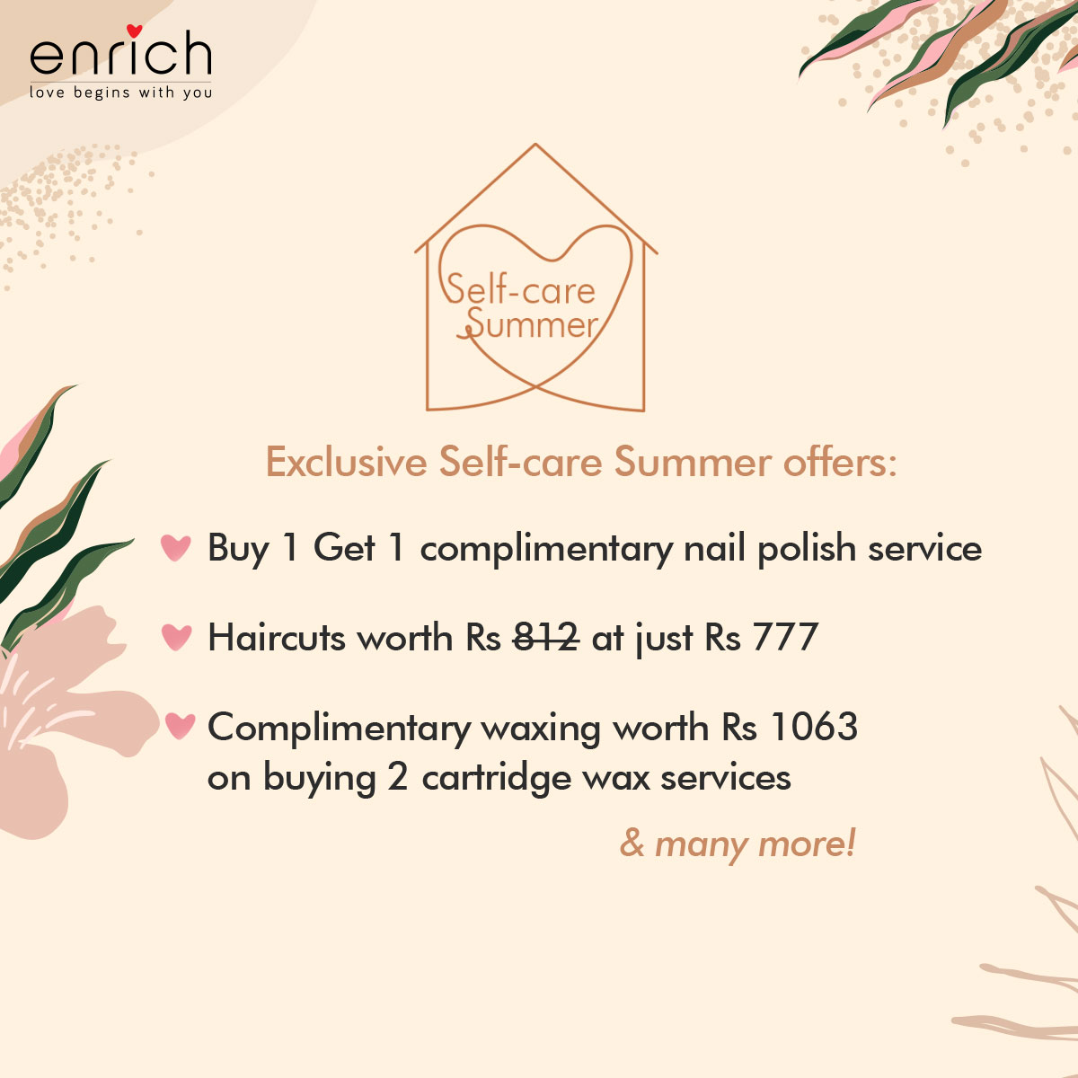 As Mumbai & Pune patrons stay indoors, we're moving all our exciting #SelfcareSummer offers and services to our 'salon at home' experience.