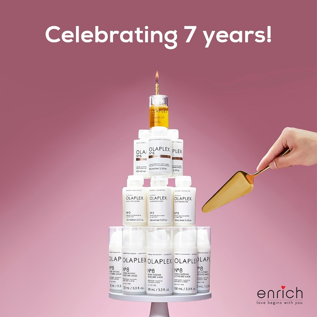 At Enrich, we're proud to be a brand partner for OLAPLEX who is celebrating its 7th birthday!